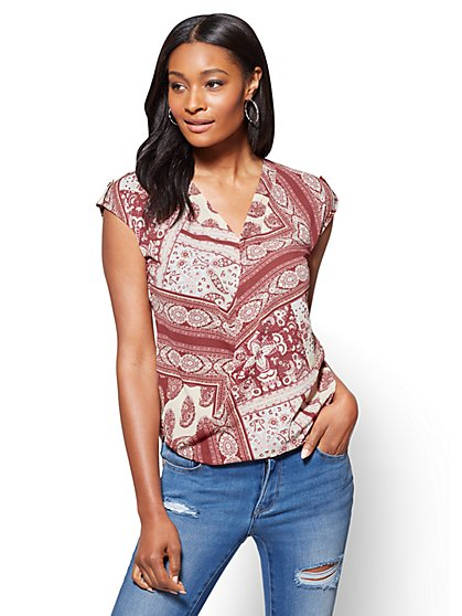 Soho Soft Shirt - Wrap Blouse - Paisley & Floral Print - New York & Company