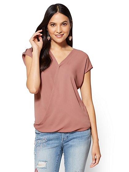 Soho Soft Shirt - Wrap-Front Short Sleeve Shirt - New York & Company
