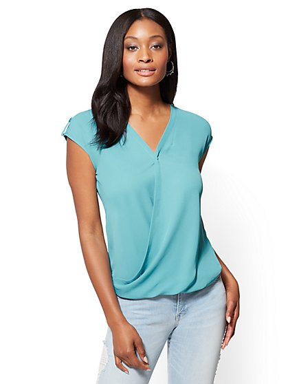 Soho Soft Shirt - Wrap-Front Short Sleeve Shirt - New York & Company