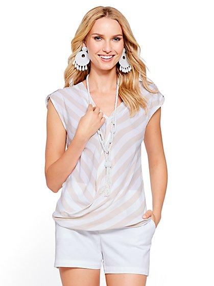 Soho Soft Shirt - Wrap-Front Short-Sleeve - Stripe - New York & Company