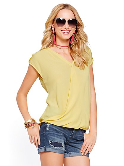 Soho Soft Shirt - Wrap-Front Short-Sleeve - New York & Company