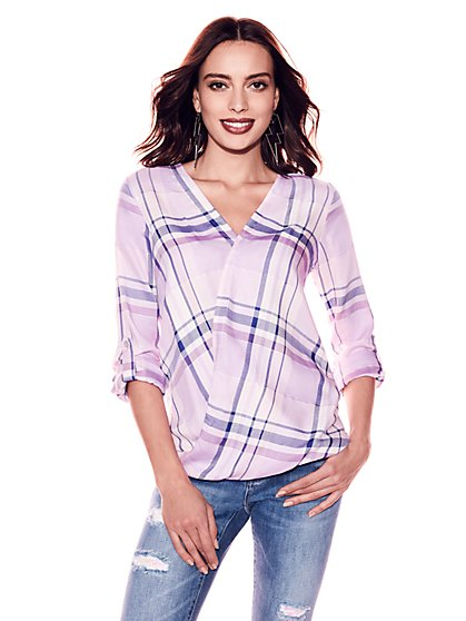 Soho Soft Shirt - Wrap - Metallic Plaid - New York & Company