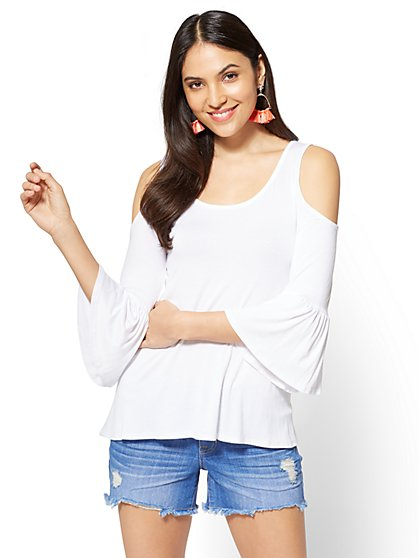 Soho Soft Tee - Cold-Shoulder Bell-Sleeve Top - New York & Company