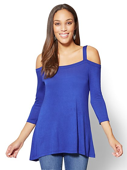 Soho Soft Tee - Cold-Shoulder Tunic Top - New York & Company