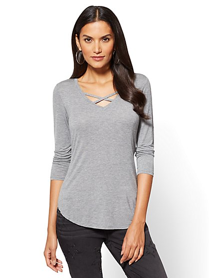 Soho Soft Tee - Criss-Cross V-Neck Top  - New York & Company