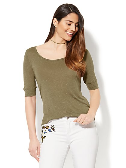 Soho Soft Tee - Cuffed Elbow Sleeve - Flecked - New York & Company