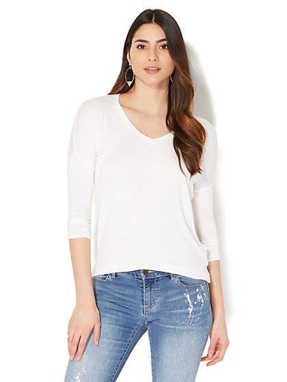 Soho Soft Tee - Hi-Lo V-Neck Top - New York & Company