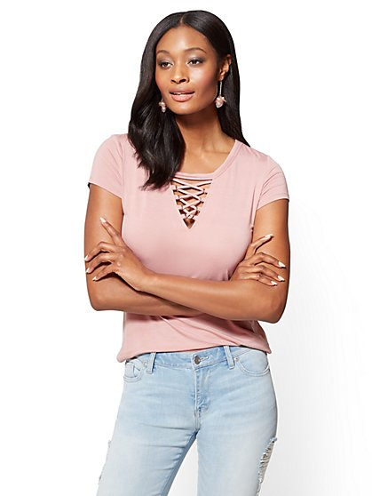 Soho Soft Tee - Lace-Up Top  - New York & Company