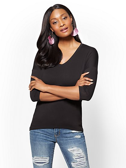 Soho Soft Tee - Long-Sleeve V-Neck Tee - New York & Company