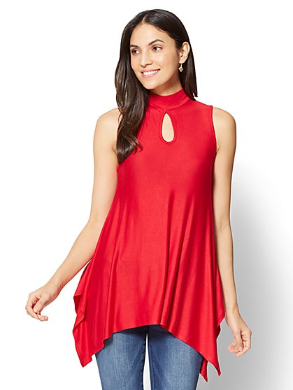 Soho Soft Tee - Mock-Neck Tunic Top - New York & Company