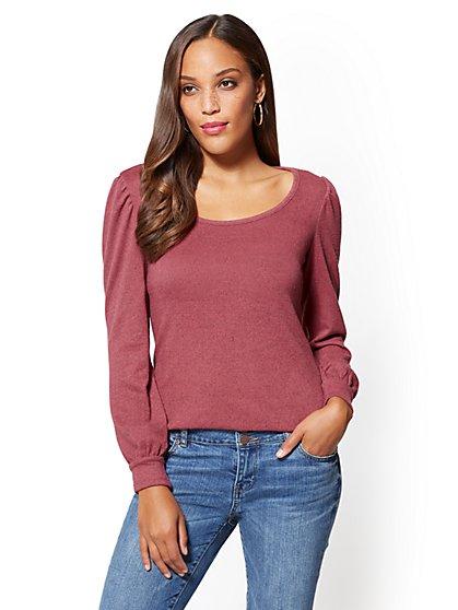 Soho Soft Tee - Puff-Sleeve Scoopneck Sweater - New York & Company