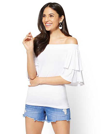 Soho Soft Tee - Ruffled Off-The-Shoulder Top - New York & Company