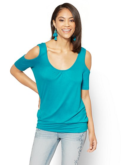 Soho Soft Tee - Shirred Cold-Shoulder Tee - New York & Company