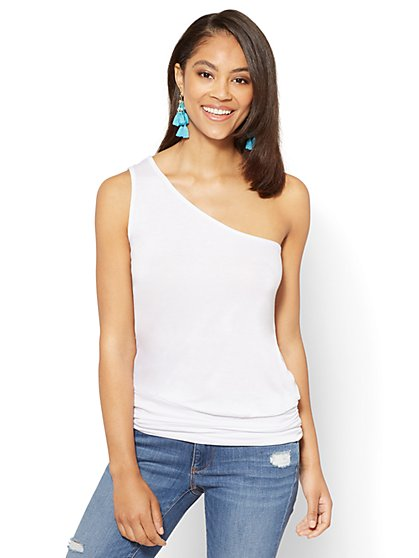 Soho Soft Tee - Shirred One-Shoulder Top - New York & Company