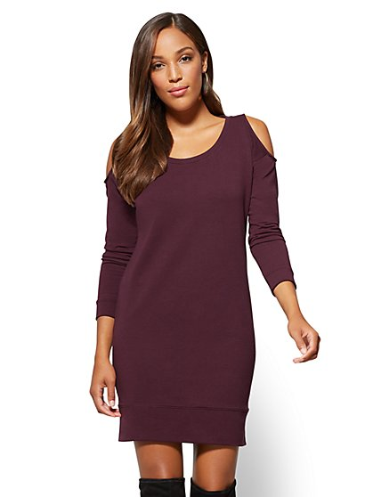 Soho Street - Cold-Shoulder Sweatshirt Dress - New York & Company