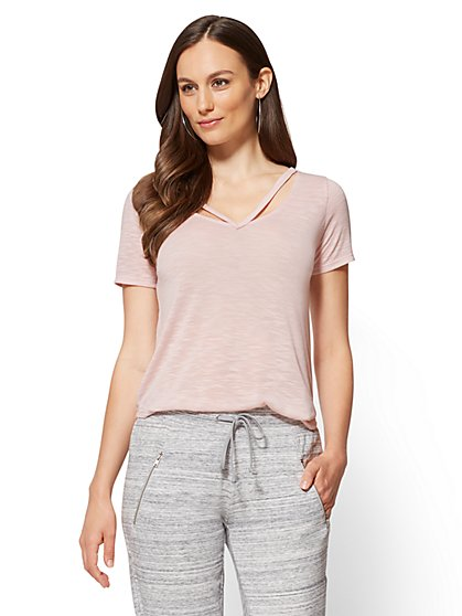 Soho Street Cutout V-Neck Tee  - New York & Company