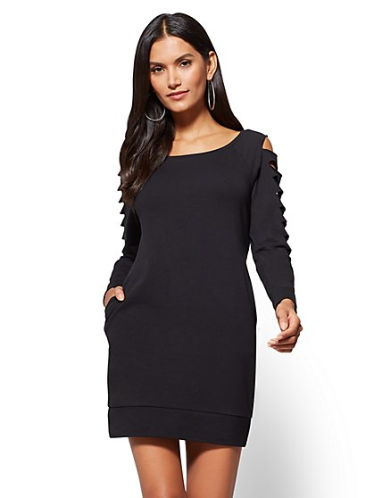 Soho Street - Destroyed-Sleeve Sweatshirt Dress - New York & Company