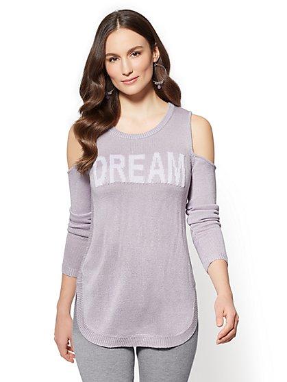 "Soho Street - ""Dream"" Metallic Cold-Shoulder Sweater - New York & Company"