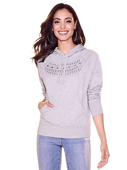 Soho Street - Embellished Hooded Sweatshirt - New York & Company