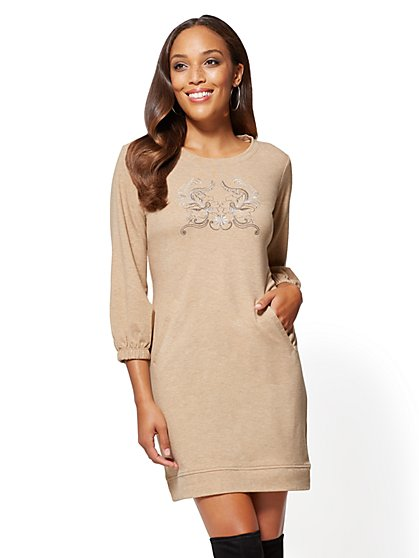 Soho Street - Embroidered Sweatshirt Dress - New York & Company