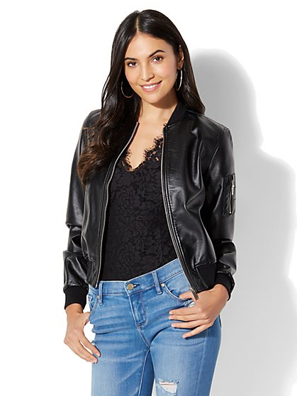 Soho Street Faux-Leather Bomber Jacket - New York & Company