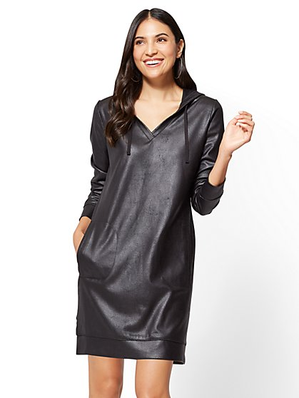 Soho Street - Faux-Leather Sweatshirt Dress  - New York & Company