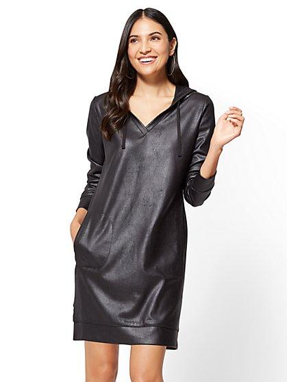 Soho Street - Faux-Leather Sweatshirt Dress  - New York & Company
