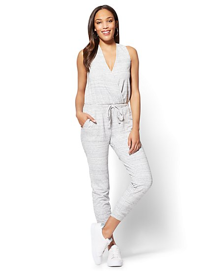 Soho Street French Terry Jumpsuit - Grey - New York & Company