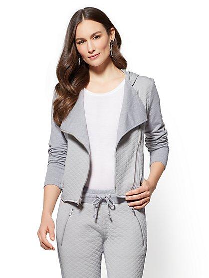 Soho Street - Hooded Moto Jacket - Grey - New York & Company