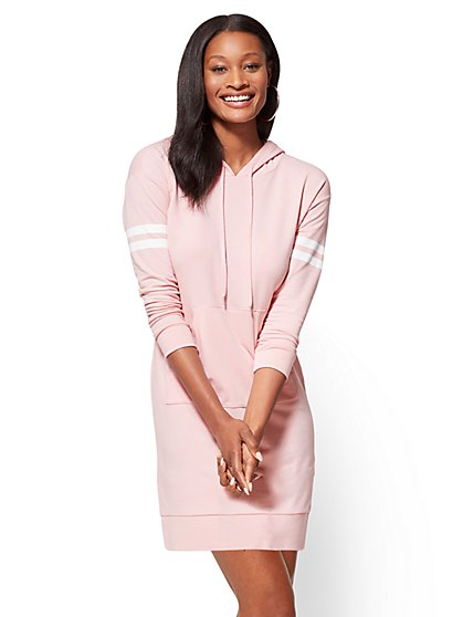 Soho Street Hooded Sweatshirt Dress - New York & Company