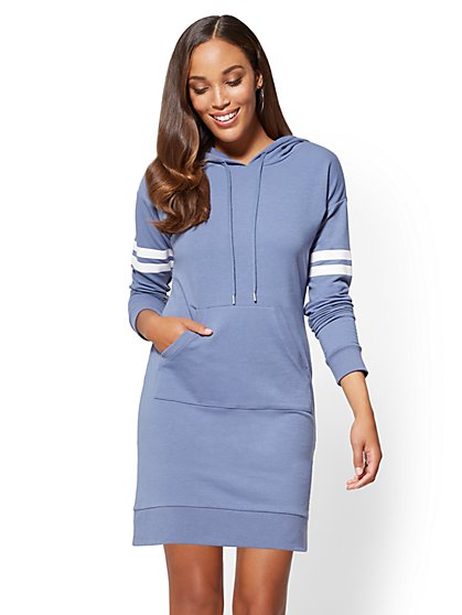 Soho Street Hooded Sweatshirt Dress - New York & Company