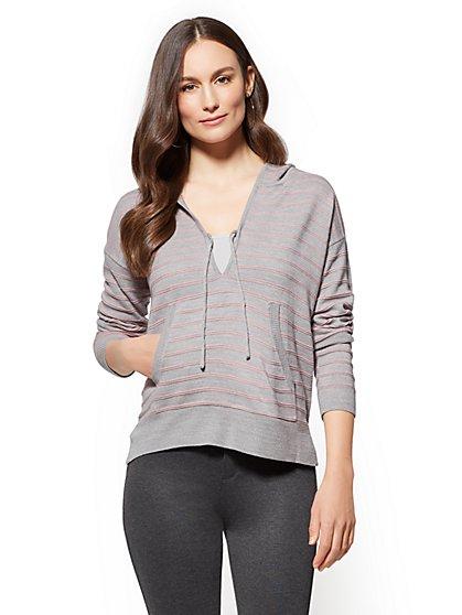 Soho Street - Hooded V-Neck Sweater - Stripe - New York & Company