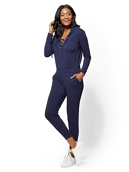 Soho Street - Lace-Up Hooded Jumpsuit - New York & Company