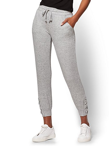 Soho Street - Lace-Up Slim Jogger Pant - Heather Grey - New York & Company