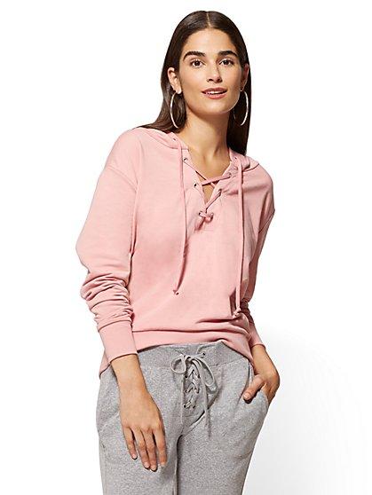 Soho Street Lace-Up Sweatshirt  - New York & Company