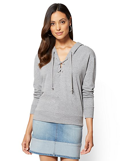 Soho Street Lace-Up Sweatshirt  - New York & Company