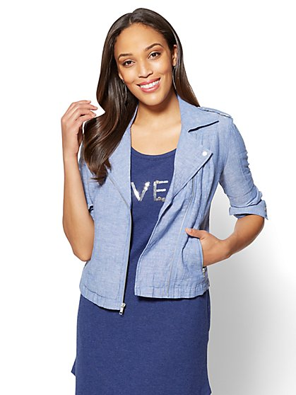Soho Street Linen Moto Jacket - New York & Company