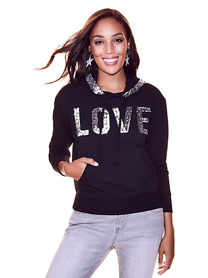 "Soho Street - ""Love"" Sequin Hooded Sweatshirt - New York & Company"