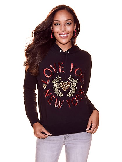 "Soho Street - ""Love You New York"" Sequin Hooded Sweatshirt - New York & Company"