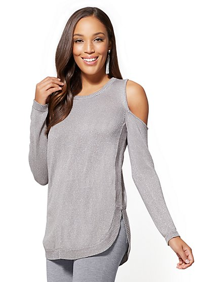 Soho Street - Metallic Cold-Shoulder Tunic Sweater - New York & Company