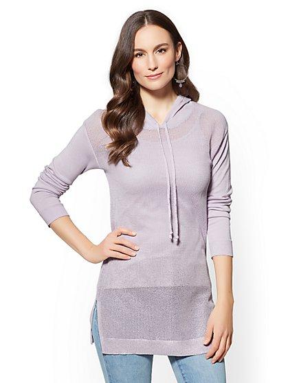 Soho Street - Metallic-Foil Hooded Sweater - New York & Company