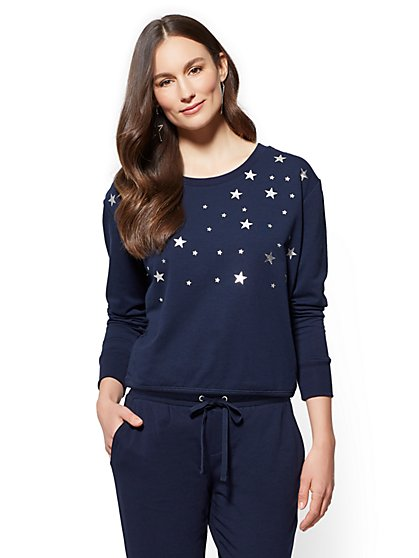 Soho Street - Metallic-Foil Star Sweatshirt - New York & Company