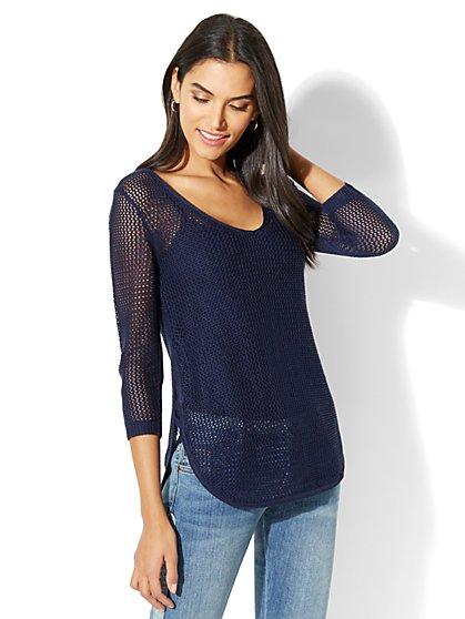 Soho Street Open-Weave Sweater - Navy - New York & Company