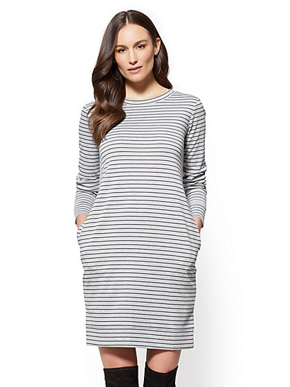 Soho Street - Ponte Shift Dress - Stripe - New York & Company