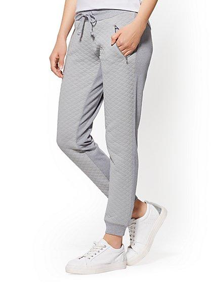 Soho Street - Quilted Slim Jogger Pant - Grey - New York & Company