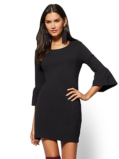 Soho Street - Ruffle-Sleeve Sweatshirt Dress - New York & Company