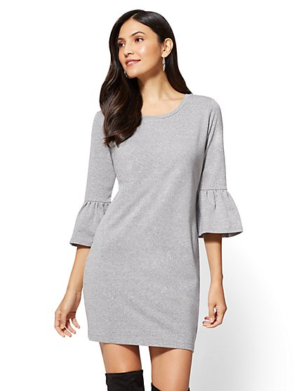 Soho Street - Ruffle-Sleeve Sweatshirt Dress - New York & Company