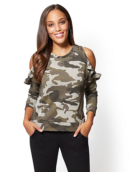 Soho Street - Ruffled Cold-Shoulder Sweatshirt - Camo Print - New York & Company