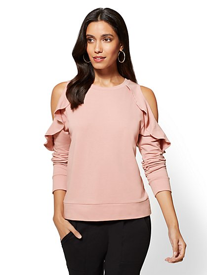 Soho Street - Ruffled Cold-Shoulder Sweatshirt - New York & Company