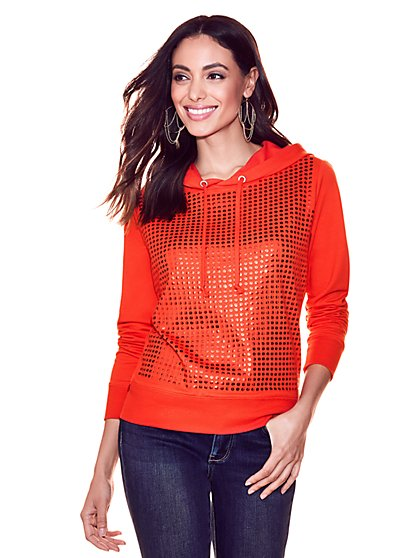 Soho Street - Sequin Hooded Sweatshirt - Red - New York & Company